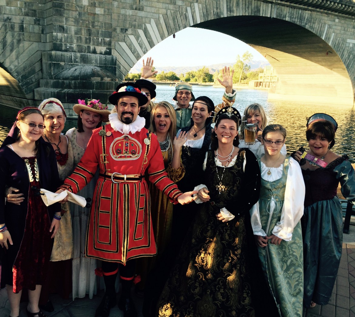A number of volunteers, in period costume, announce the plans for the 1st Annual London Bridge Renaissance Faire. Naturally the announcement was made under the London Bridge.